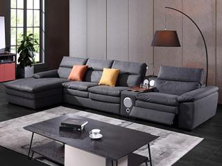 现代简约891布艺功能沙发 转角沙发1+2+右贵妃(抱枕颜色随机)