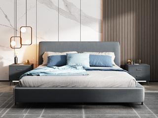 极简风格 舒适透气 优质布艺+实木框架 1.8米 床(搭配实木排骨架)