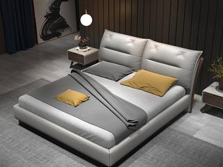 时尚简约 高弹舒适 实木框架+白蜡木 皮艺 1.8米浅灰色双人床(搭配实木排骨架)