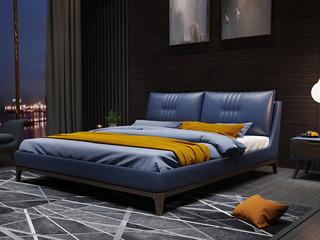 时尚简约 高弹舒适 实木框架+白蜡木 皮艺1.8米宝蓝色双人床(搭配实木排骨架)