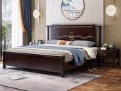 华韵 新中式 橡木 主卧 储物 双人床 1.8米 高箱带抽屉床