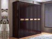 华韵 新中式风格 紫檀色 家用卧室 实木3门衣柜