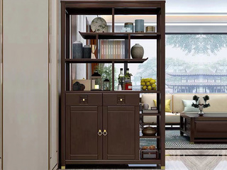 新中式风格 紫檀色 小户型家用橡胶木间厅柜
