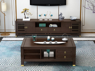 新中式 多层实木客厅多功能地柜 双抽四门储物电视柜