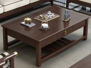 新中式 客厅储物多层实木茶几带抽屉长茶几