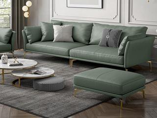 轻奢风格 超柔舒适 优质科技皮+实木框架 四人位+脚踏 沙发组合