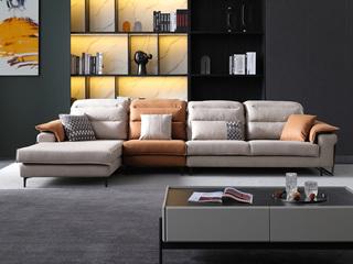 现代简约 科技布 双拼色 转角沙发(1+3+右贵妃)