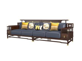 新中式风格 乌金木+皮艺 单层抽屉镂空置物扶手四人沙发