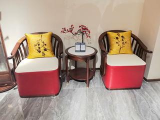 新中式风格 乌金木+皮艺 竖纹美学圆弧单人 休闲椅