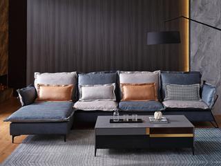 现代简约 科技布+进口松木框架 亲肤舒适 转角沙发(2+2+贵妃踏)