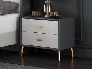 現代簡約 灰色+米白 床頭柜