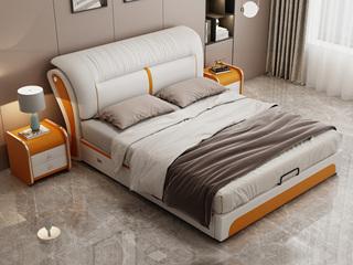 现代简约 皮艺 米白色+金橙色 1.8*2.0米高箱床(抽屉躺右)