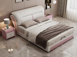 现代简约 皮艺 米白色+粉色 1.5*2.0米高箱床(抽屉躺右)