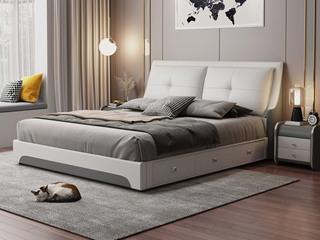 现代简约 皮艺 米白色+深灰色 1.5*2.0米高箱床(抽屉躺左)