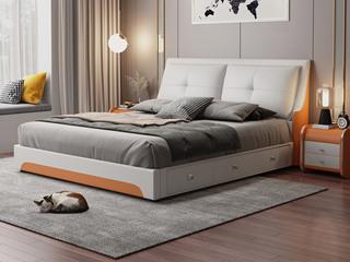 现代简约 皮艺 米白色+金橙色 1.8*2.0米高箱床(抽屉躺左)