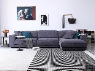 极简风格 时代鹿皮绒布 俄罗斯进口落叶松框架 转角沙发(1+1+左贵妃)