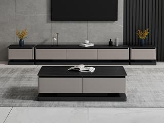 现代简约 劳伦黑金岩板 灰色柜体 一斗柜