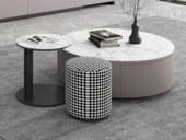 米勒 现代极简 卡其色柜体 雪山白岩板 圆茶几+角几+圆凳 茶几组合(大圆直径900mm)