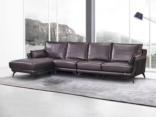 现代简约 皮艺 酱紫色 转角沙发(1+3+右贵妃)