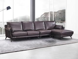 现代简约 头层真皮 酱紫色 转角沙发(1+3+左贵妃)