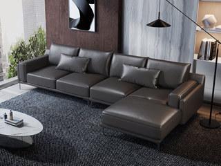 现代简约 头层真皮 黑色 转角沙发(1+3+左贵妃)
