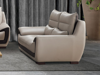现代简约 皮艺 米白色 双人沙发
