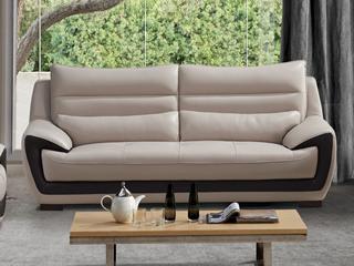 现代简约 头层真皮 米白色 三人沙发
