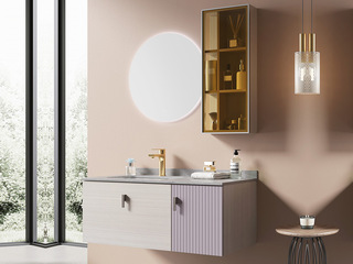 【包邮 送货到家】 轻奢风格 岩板台面 智能镜灯 浴室柜套装(龙头需单独购买)