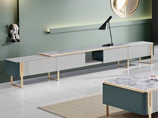 现代简约 亮光岩板台面 E1级板材柜体 金属脚 电视柜 长2.5米