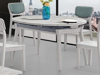 现代简约 亮光岩板台面 E1级板材柜体橡胶木脚 多功能餐桌