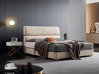 潮品系列 极简风格 6237床 1.5*2.0米 科技布床
