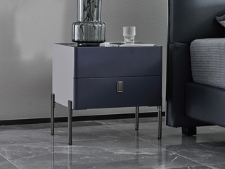 潮品系列 C-59灰色+蓝色五金床头柜