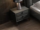 卡罗亚 极简风格 全实木柜 黑磨砂铁五金脚 深灰色床头柜
