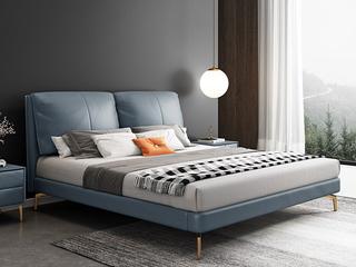 轻奢 全实木内架 白鹅羽绒 石板蓝 真皮舒适柔软床1.8米(搭配10公分松木排骨架)
