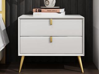 轻奢 实木内架 米白色 床头柜