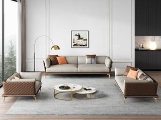 轻奢风格 全实木框架 羽绒公仔包 三人位 布艺沙发