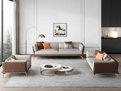 慕梵希 轻奢风格 全实木框架 羽绒公仔包 1+2+3仿真皮沙发组合