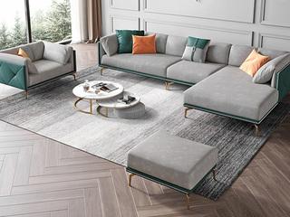 轻奢风格 全实木框架 羽绒公仔包 1+3+左贵妃 真皮沙发