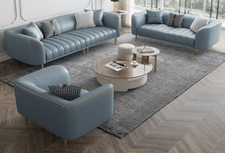轻奢风格 全实木框架 羽绒公仔包 单人位 仿真皮沙发