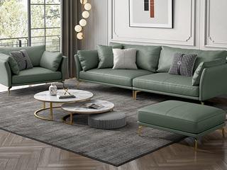轻奢风格 全实木框架 羽绒公仔包 1+3+脚踏 布艺沙发组合