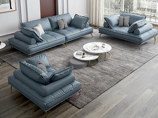 轻奢风格 全实木框架 单人位 真皮沙发