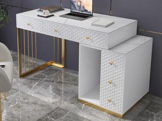轻奢 岩板 钢琴哑光烤漆 白色 伸缩书桌