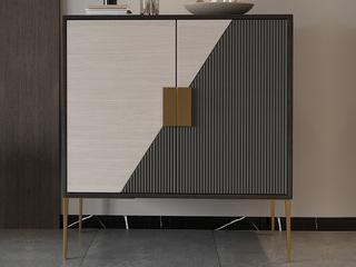轻奢 竖纹浮雕工艺 不锈钢镀金边 鞋柜(长1200mm)