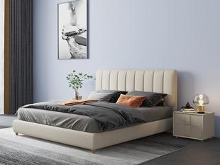 现代简约 舒适透气 优质布艺+实木框架 米黄色1.8米床(搭配松木排骨架)