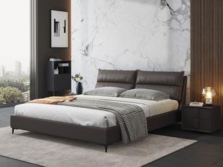 现代简约 充盈软靠 超柔科技布+实木框架 咖啡色1.8米床