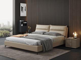 现代简约 充盈软靠 超柔科技布+实木框架 米黄色1.8米床