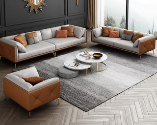 轻奢风格 全实木框架 羽绒公仔包 1+2+3 橙色+浅灰色 布艺沙发组合