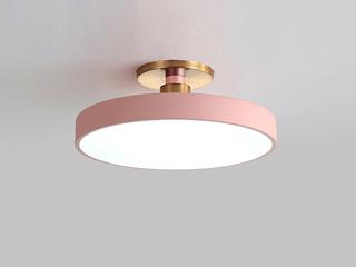 【包邮 偏远地区除外】 轻奢风格 铁艺+亚克力 粉230 三色光 吸顶灯(含光源 LED12W)