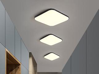【包邮 偏远地区除外】 现代 铁艺+亚克力 黑色300*300 三色光 吸顶灯(含光源 LED12W)