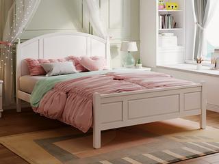 现代简约 弧屏1.5米 实木 儿童板木床(含实木床排)